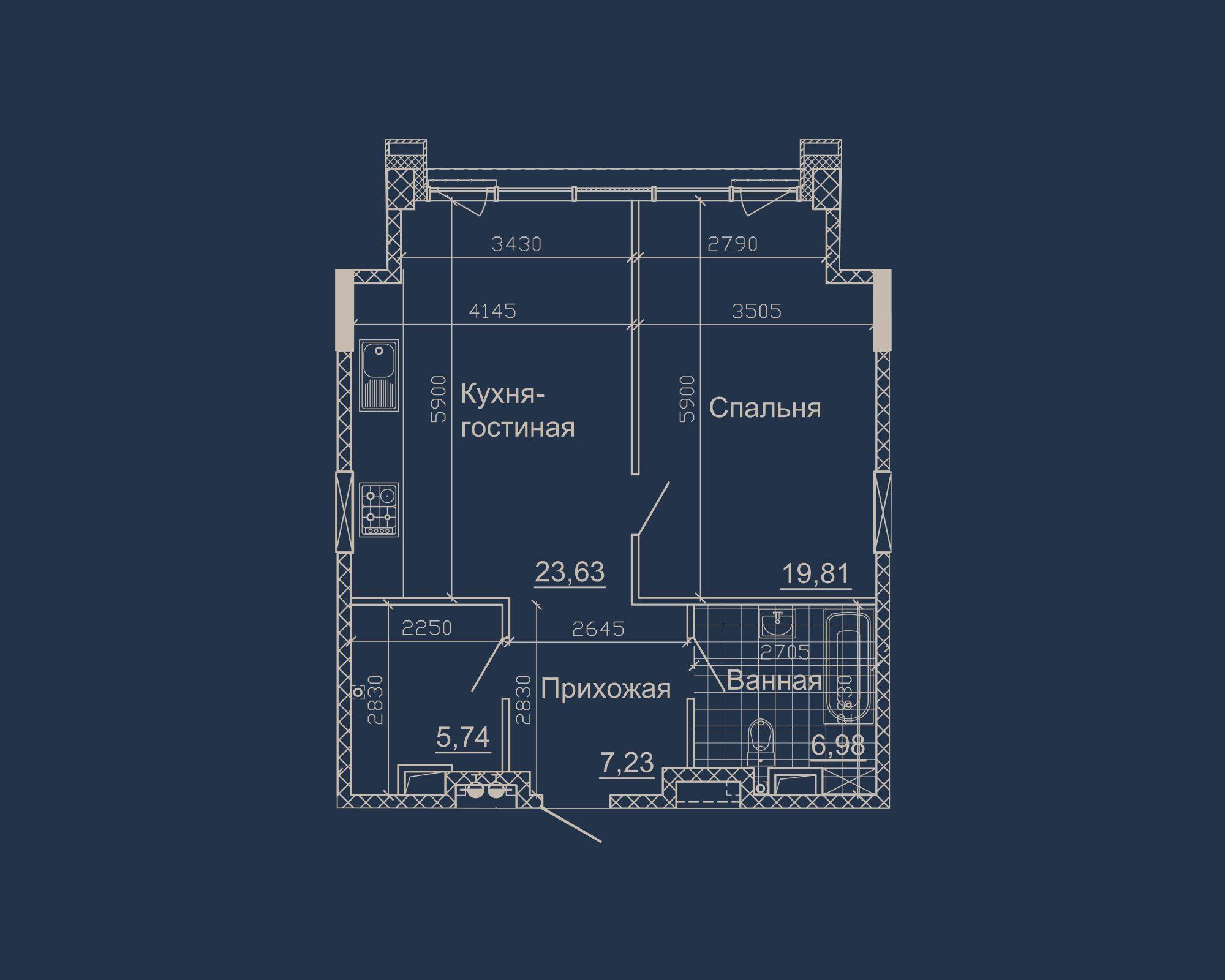 1-кімнатна квартира типу 02А у ЖК Nebo
