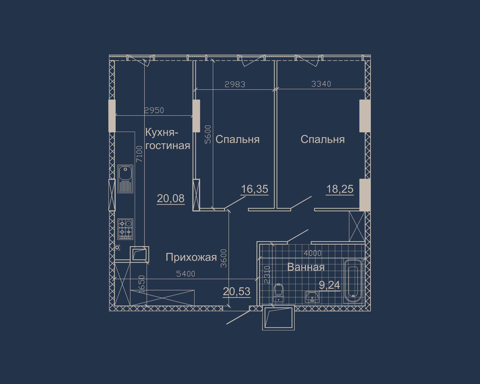 2-кімнатна квартира типу 06А у ЖК Nebo