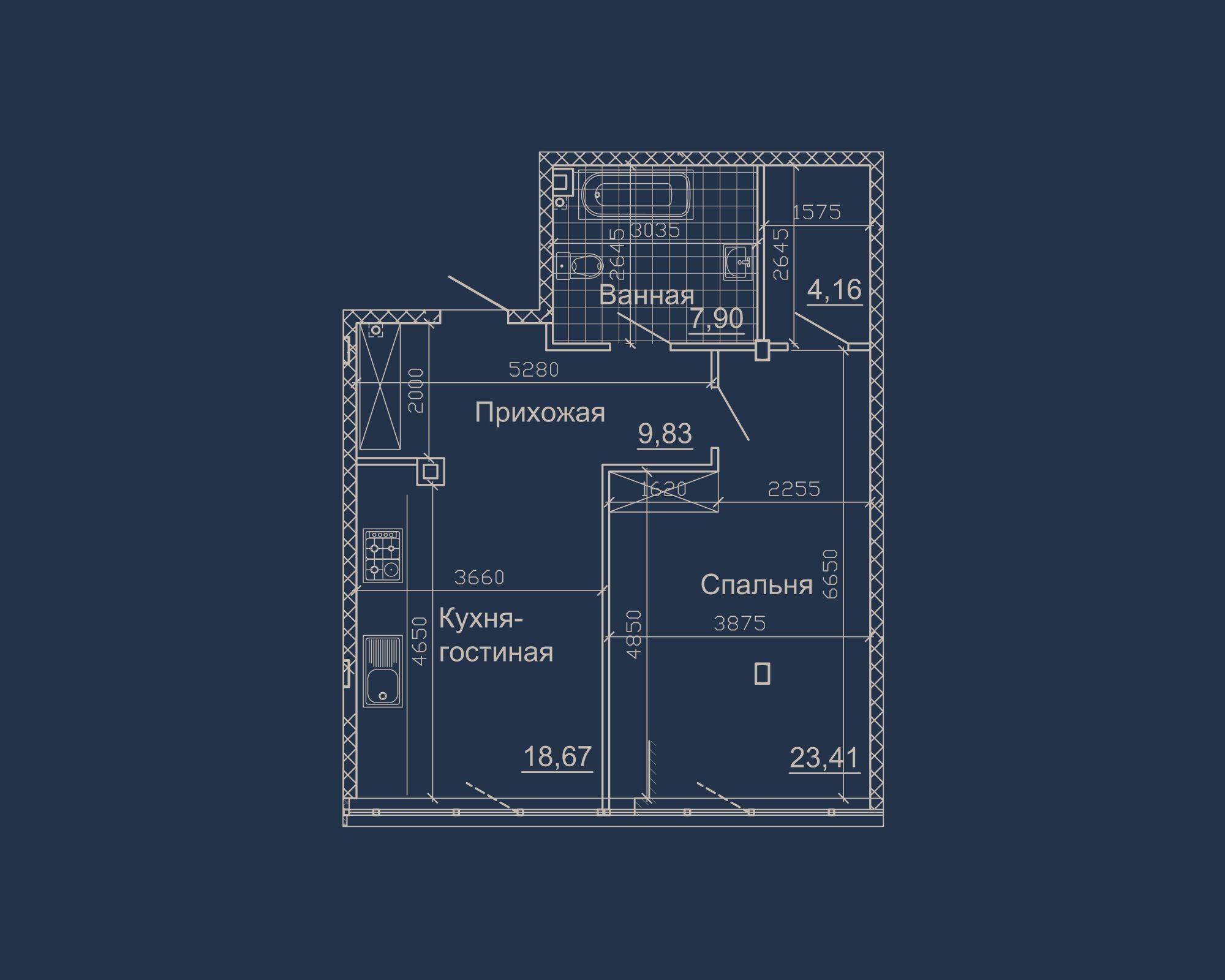 1-кімнатна квартира типу 08А у ЖК Nebo