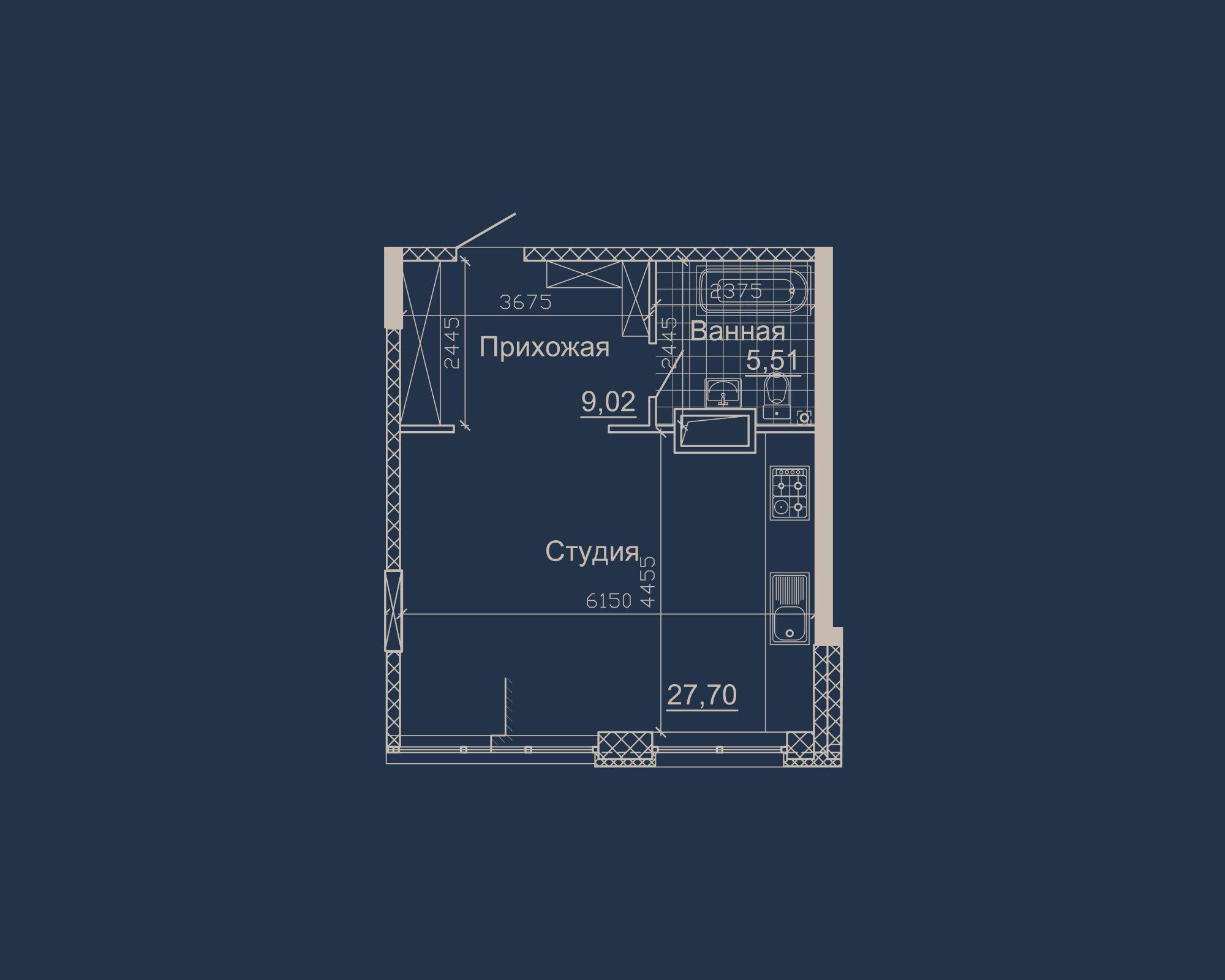 1-кімнатна квартира типу 10А у ЖК Nebo