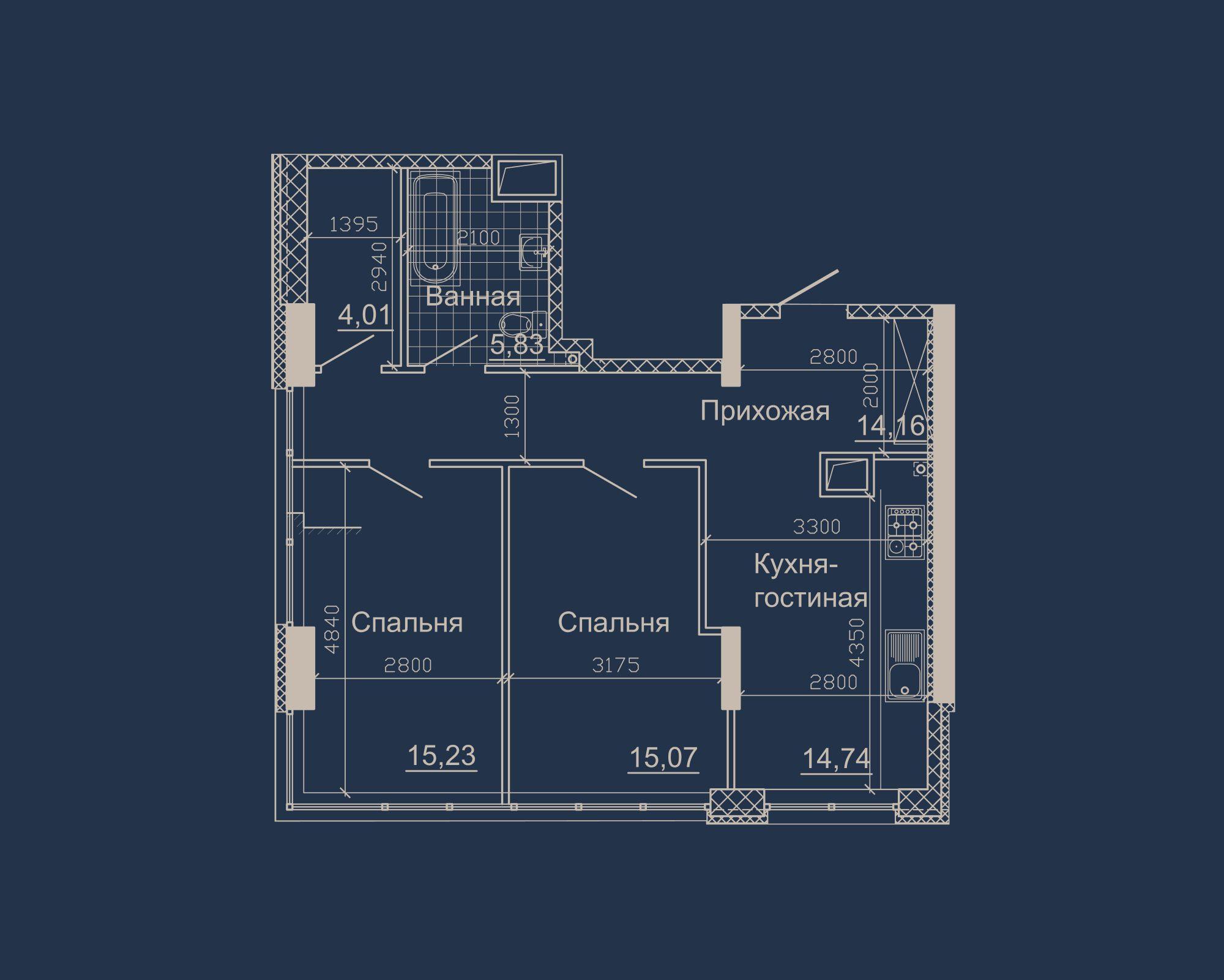2-кімнатна квартира типу 12А у ЖК Nebo