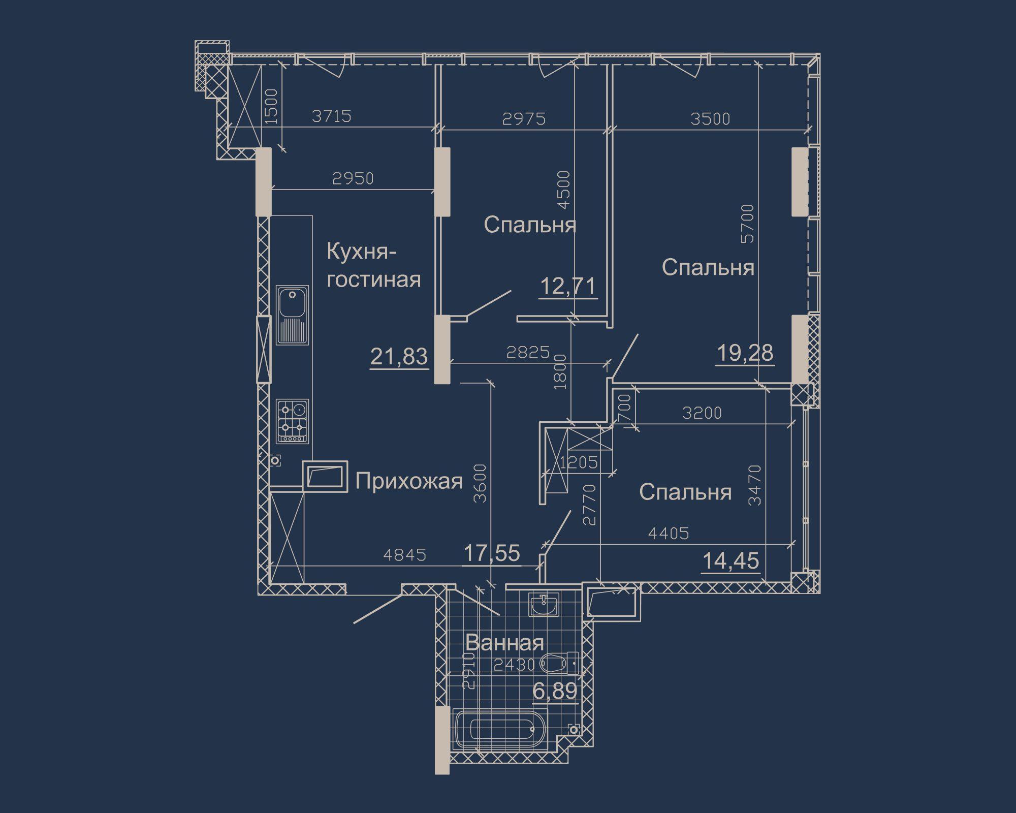 3-кімнатна квартира типу 01Б у ЖК Nebo