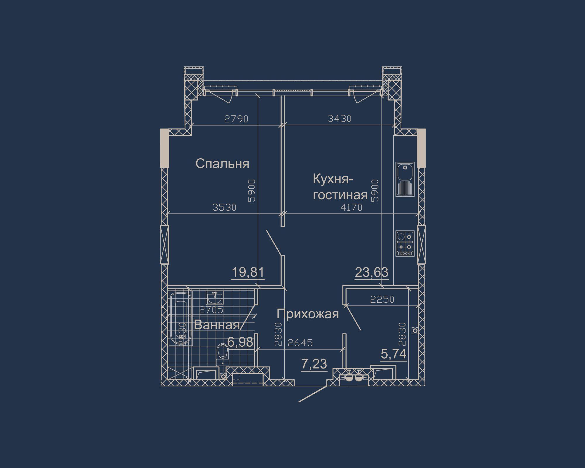 1-кімнатна квартира типу 02Б у ЖК Nebo