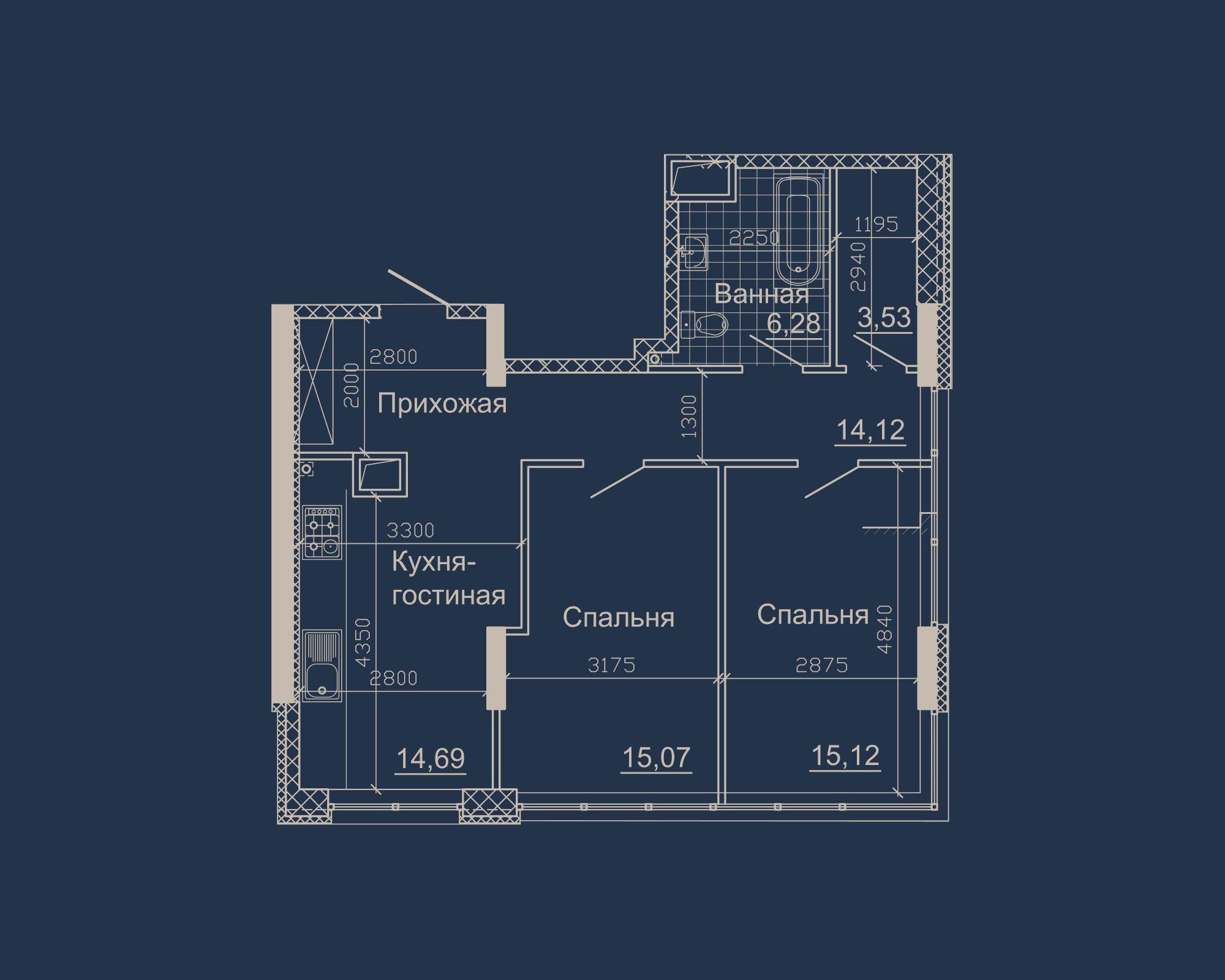 2-кімнатна квартира типу 12Б у ЖК Nebo
