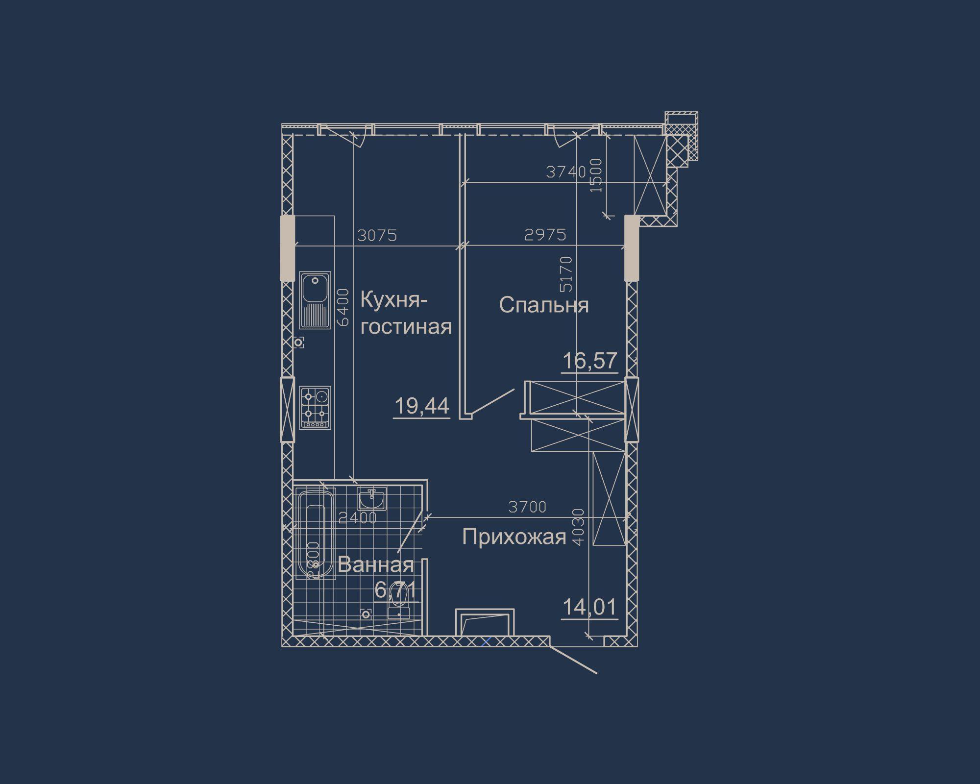 1-кімнатна квартира типу 04А-1 у ЖК Nebo