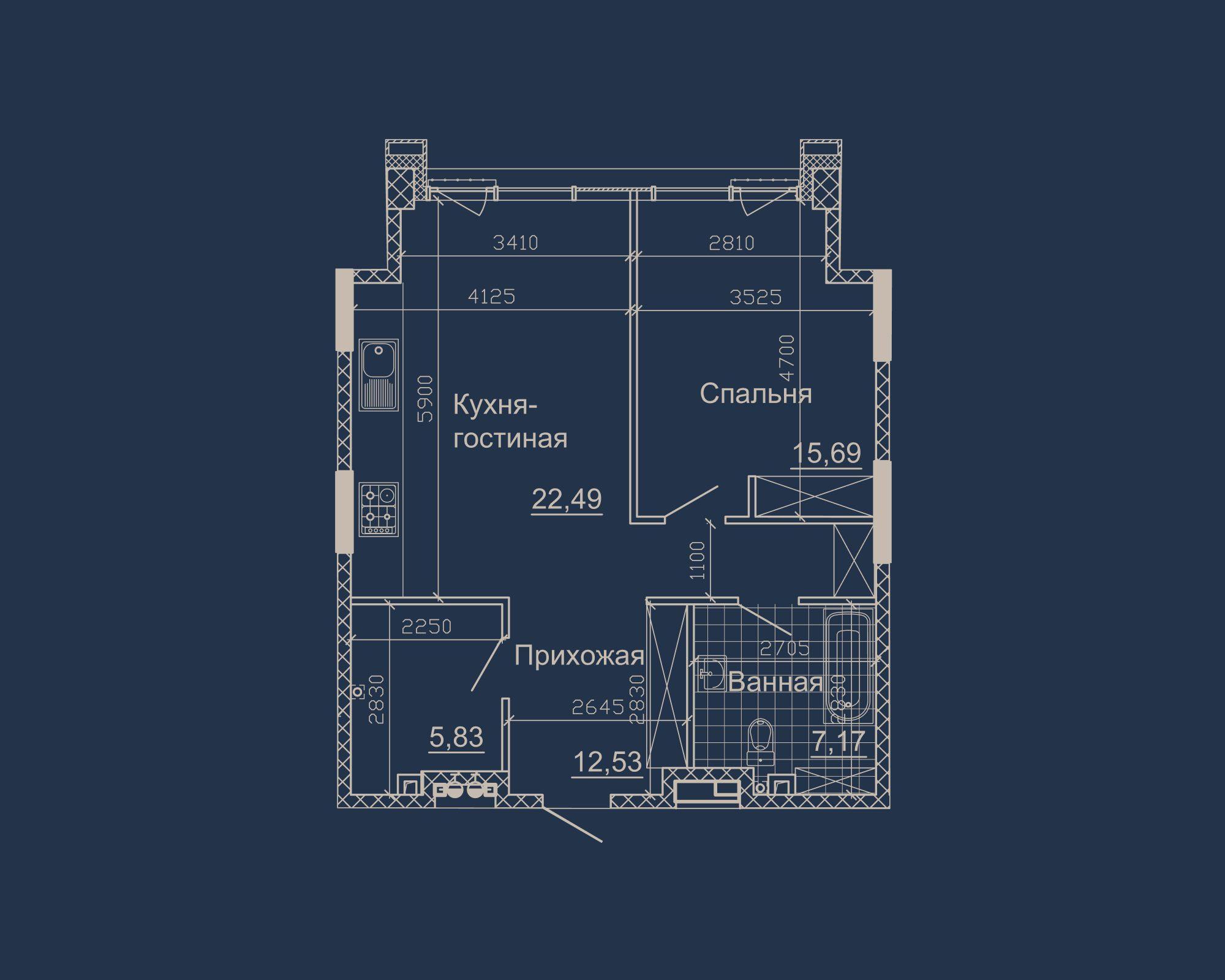1-кімнатна квартира типу 05Б у ЖК Nebo