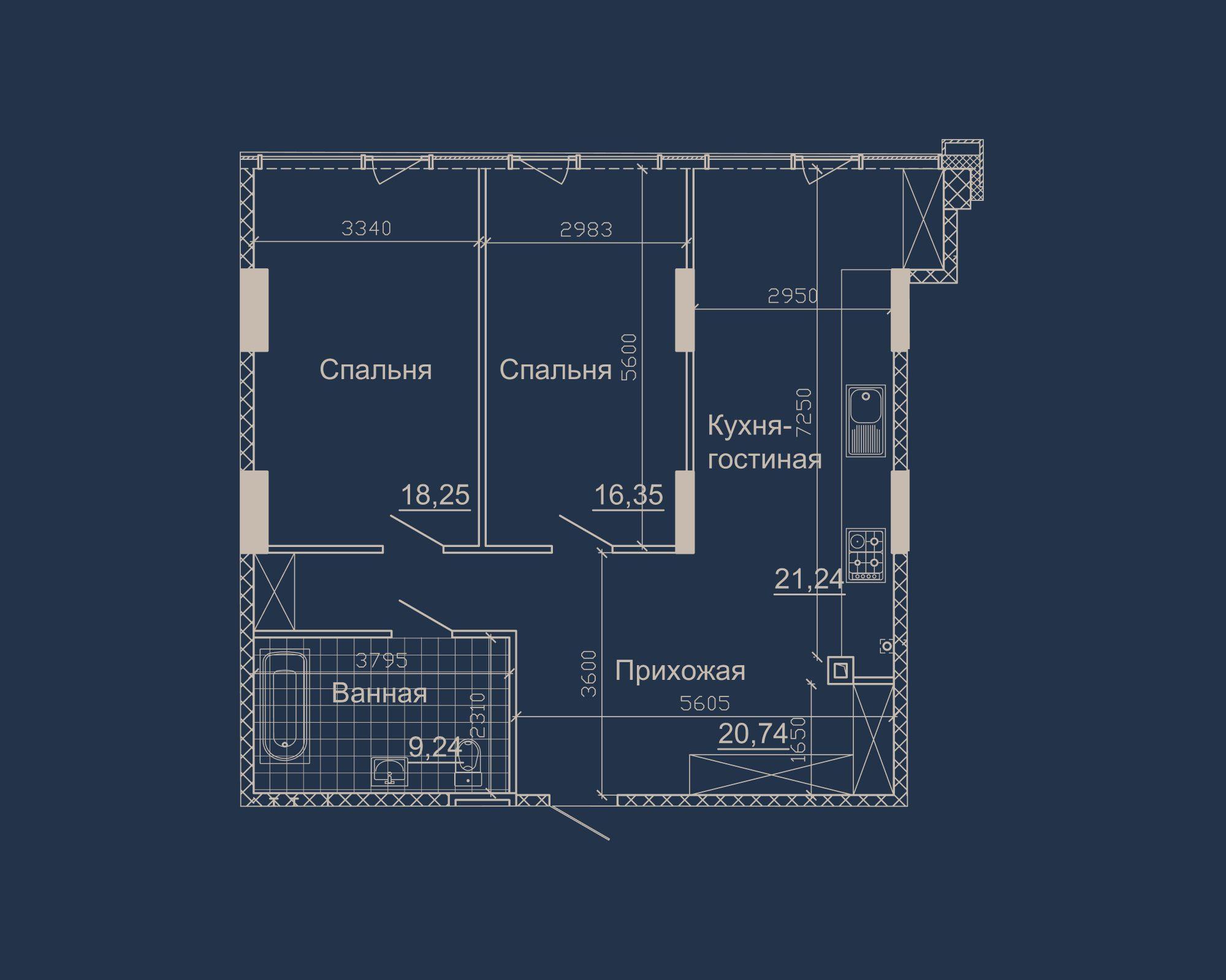 2-кімнатна квартира типу 06Б у ЖК Nebo