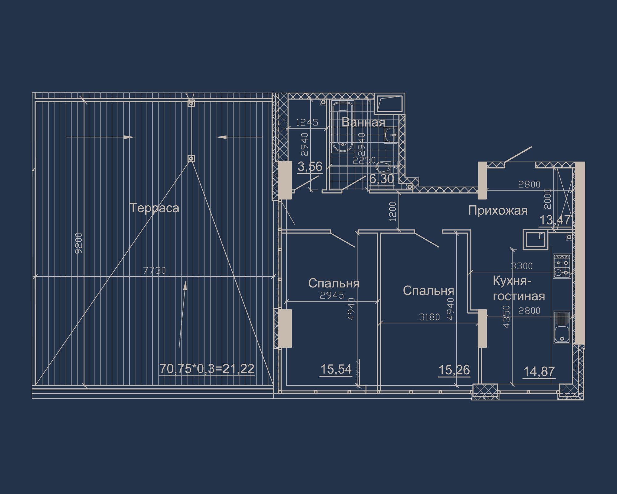 2-кімнатна квартира типу 07Б-1 у ЖК Nebo