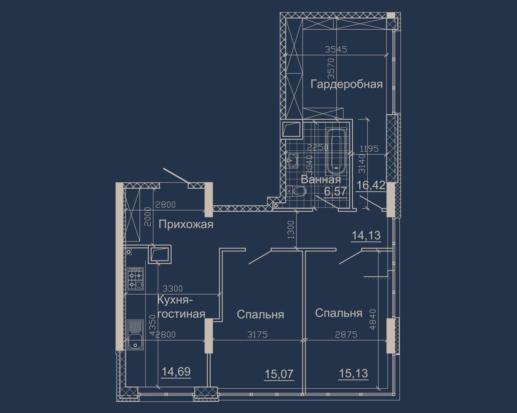 3-кімнатна квартира типу 10Б-1 у ЖК Nebo
