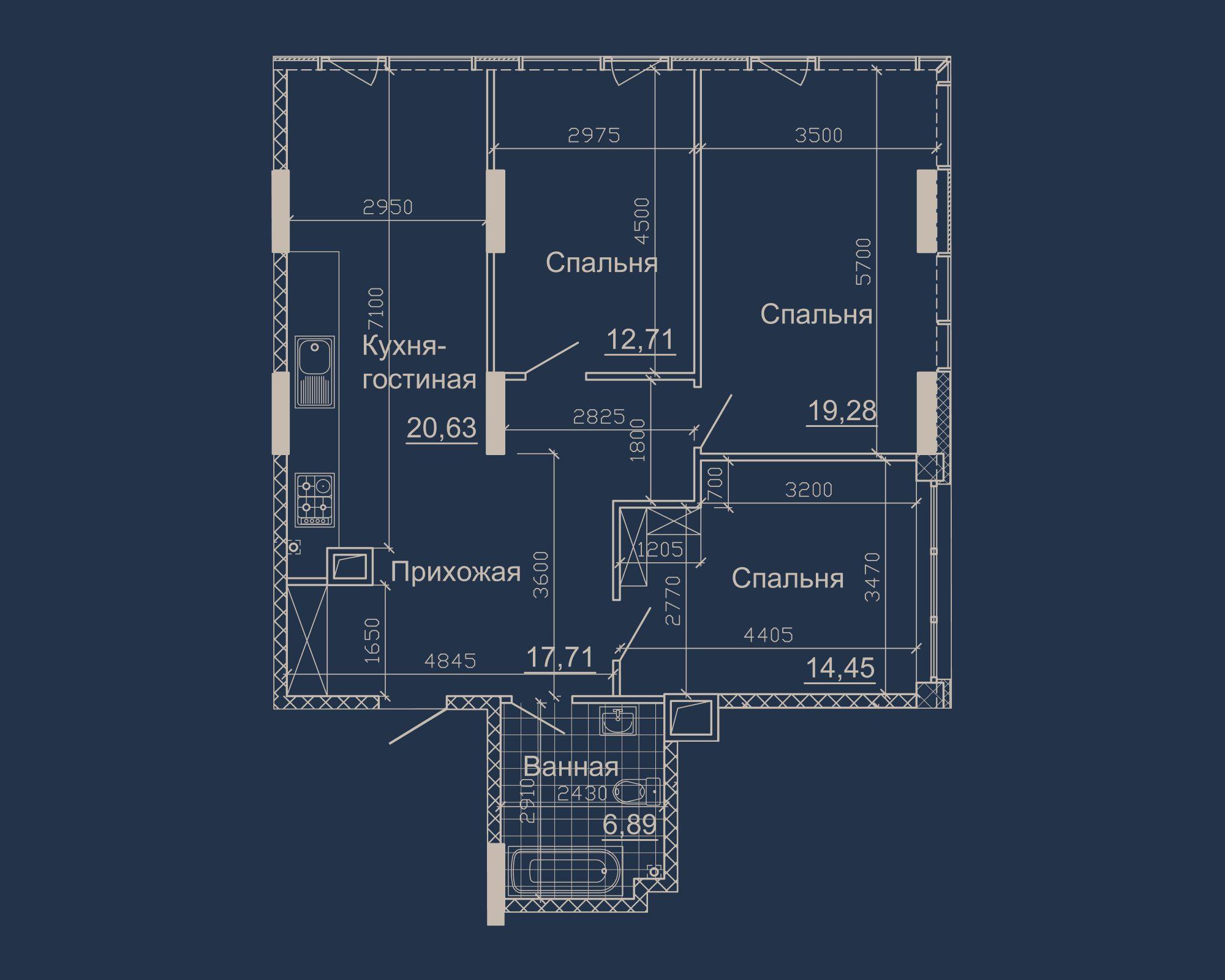 3-кімнатна квартира типу 01А-1 у ЖК Nebo
