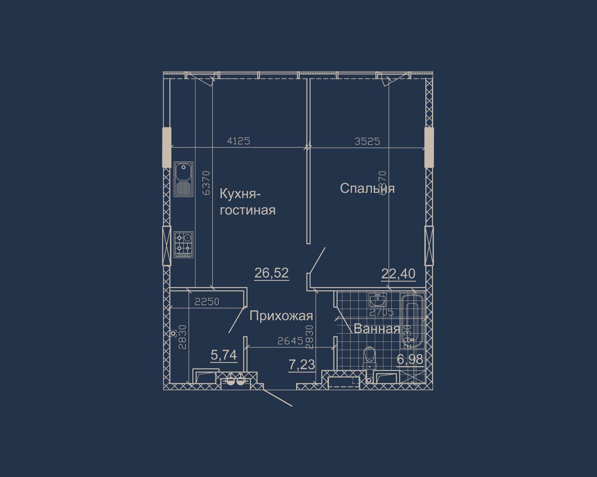 1-кімнатна квартира типу 02А-1 у ЖК Nebo