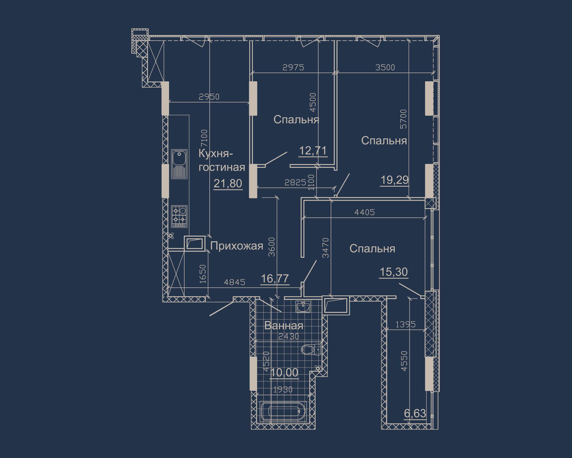 3-кімнатна квартира типу 01Б-2 у ЖК Nebo