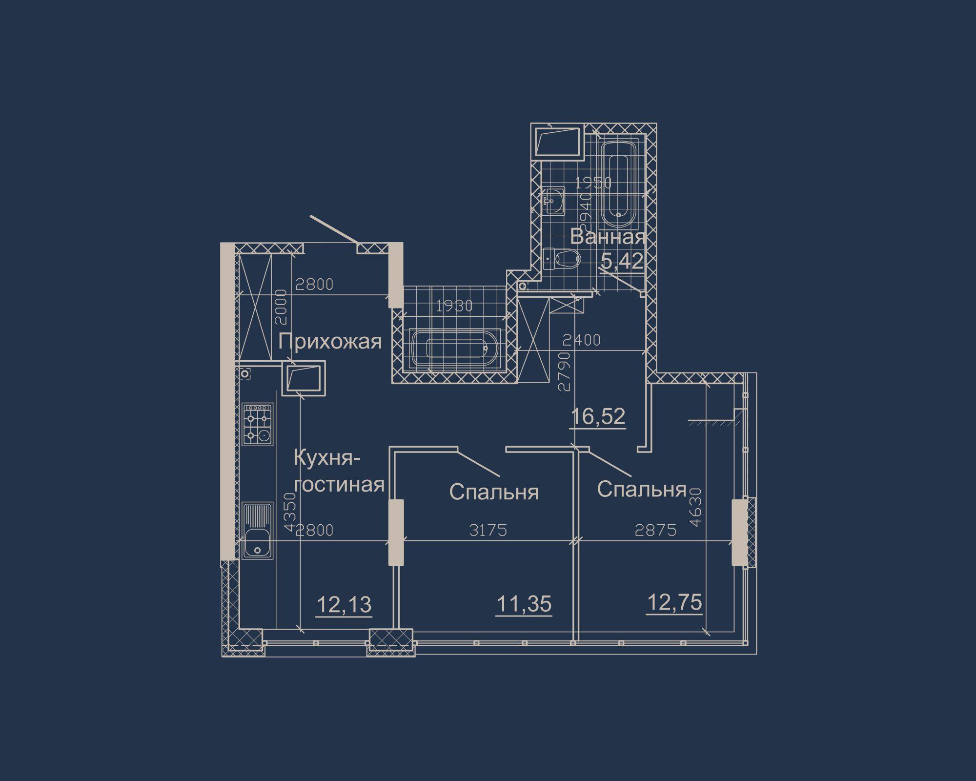 2-кімнатна квартира типу 10Б-2 у ЖК Nebo
