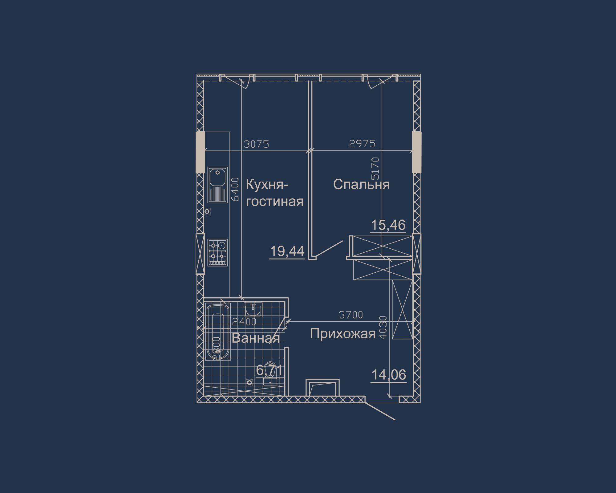 1-кімнатна квартира типу 04А у ЖК Nebo
