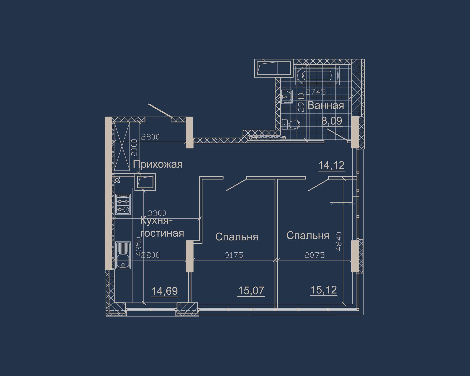 2-кімнатна квартира типу 10А-1 у ЖК Nebo