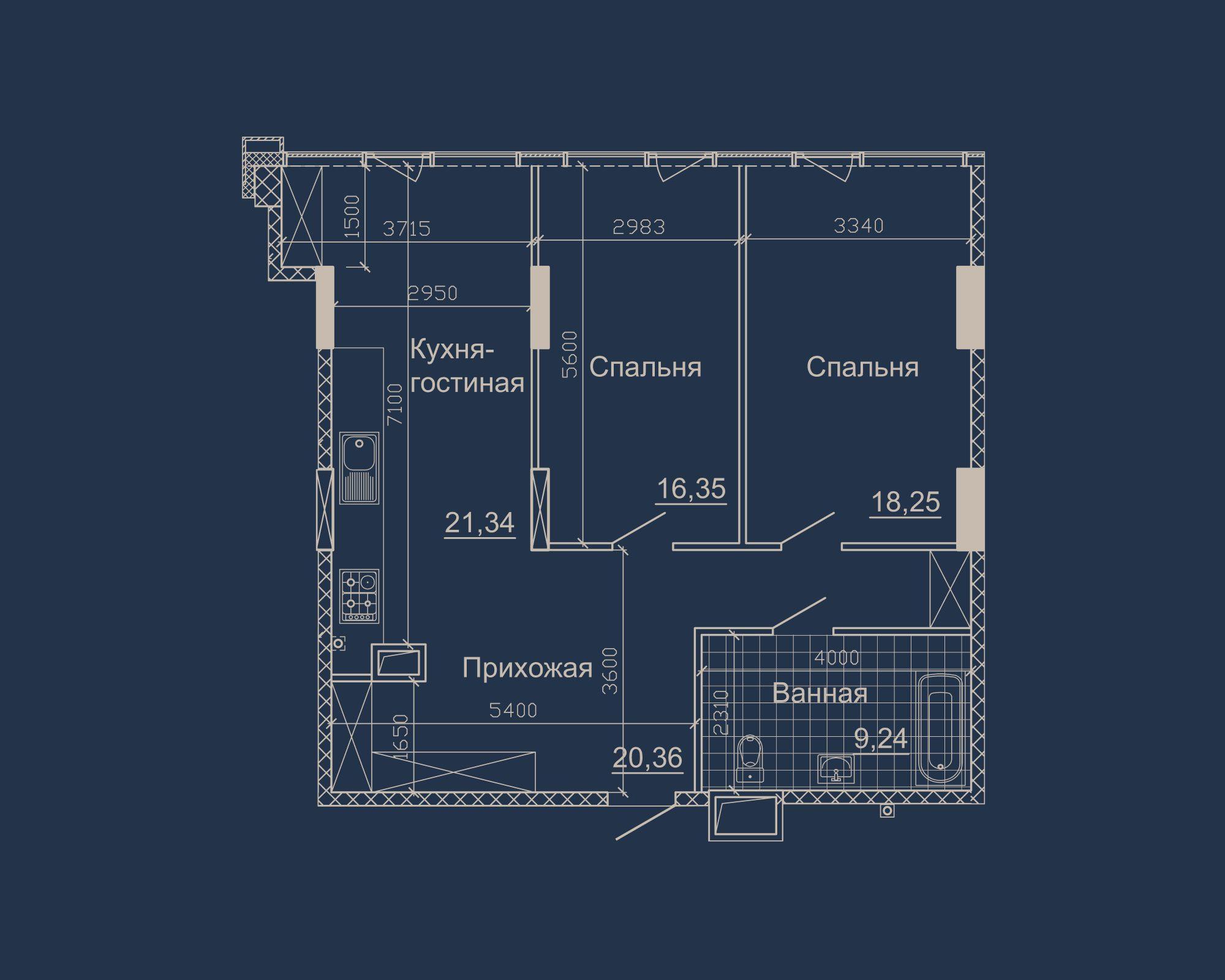2-кімнатна квартира типу 11А-1 у ЖК Nebo
