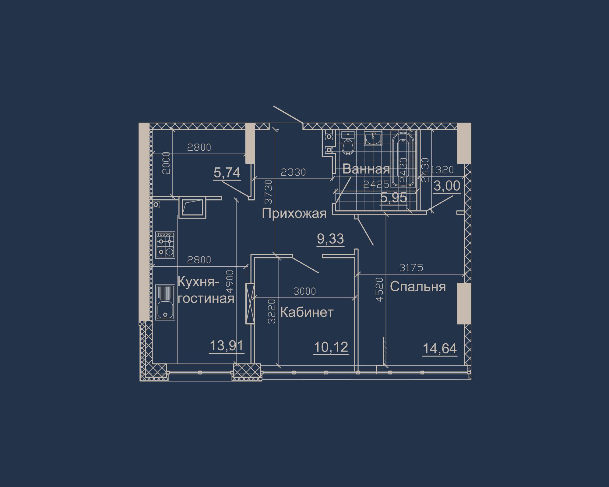 2-кімнатна квартира типу 10А-2 у ЖК Nebo