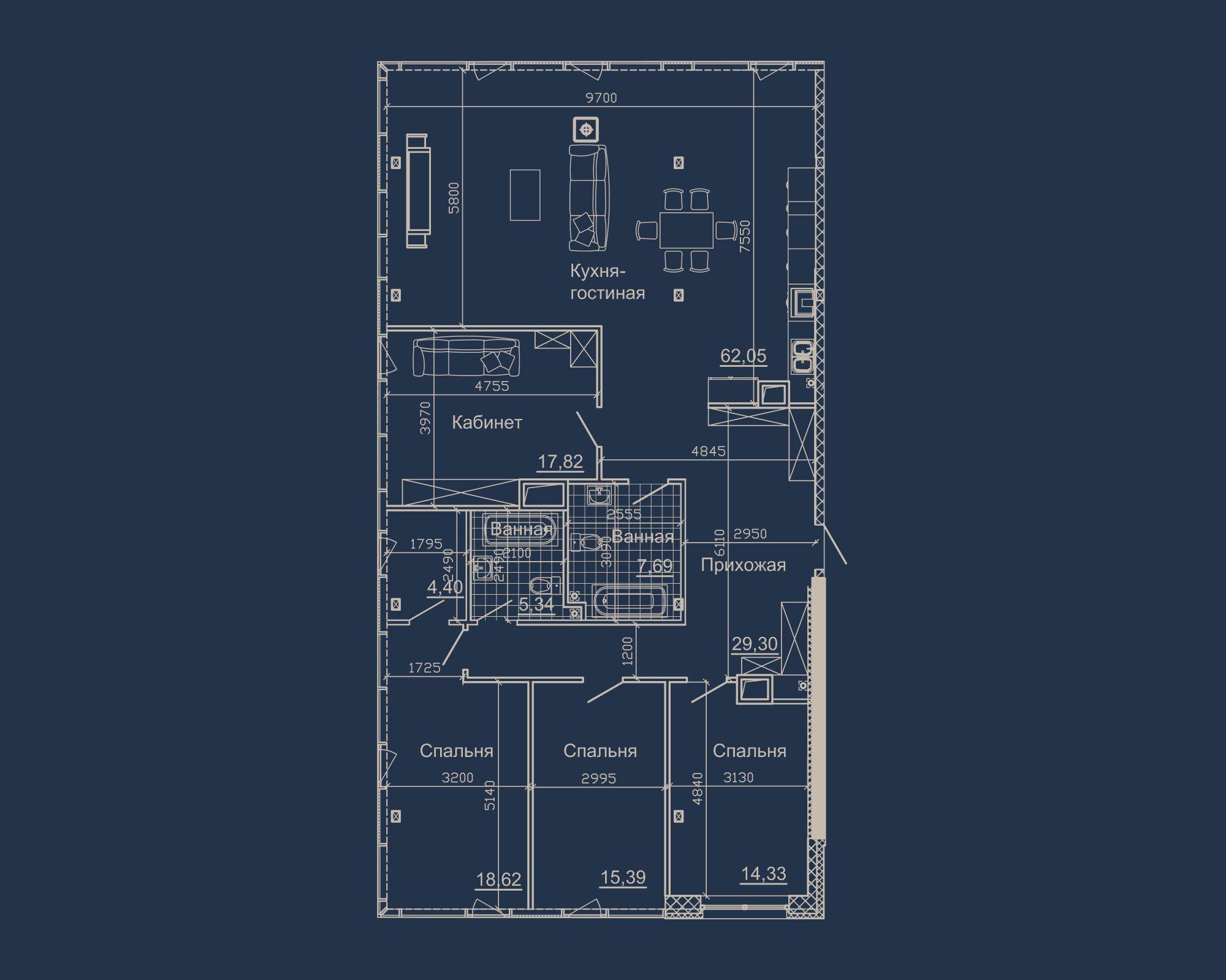 4-кімнатна квартира типу 16А у ЖК Nebo