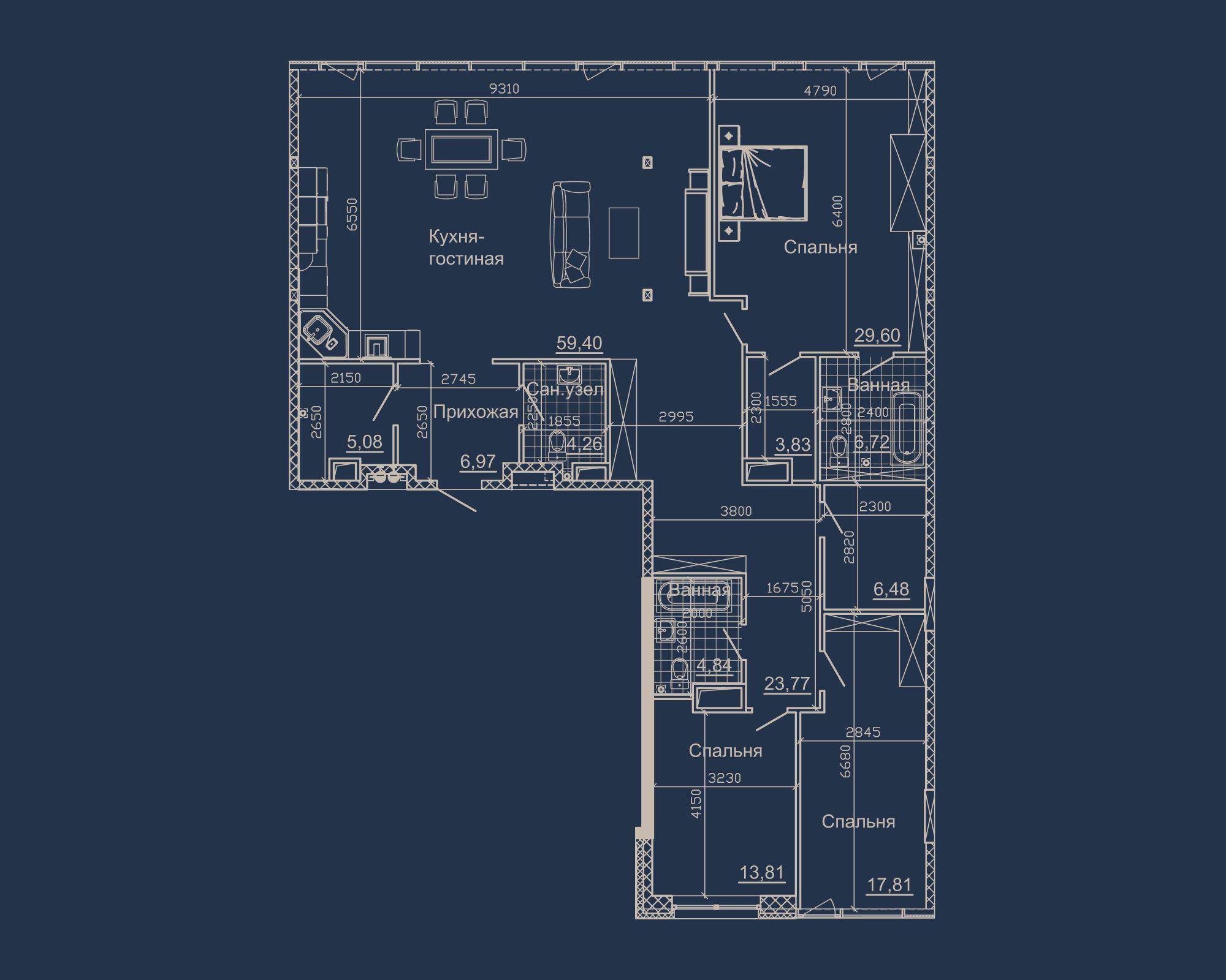 3-кімнатна квартира типу 16А-2 у ЖК Nebo