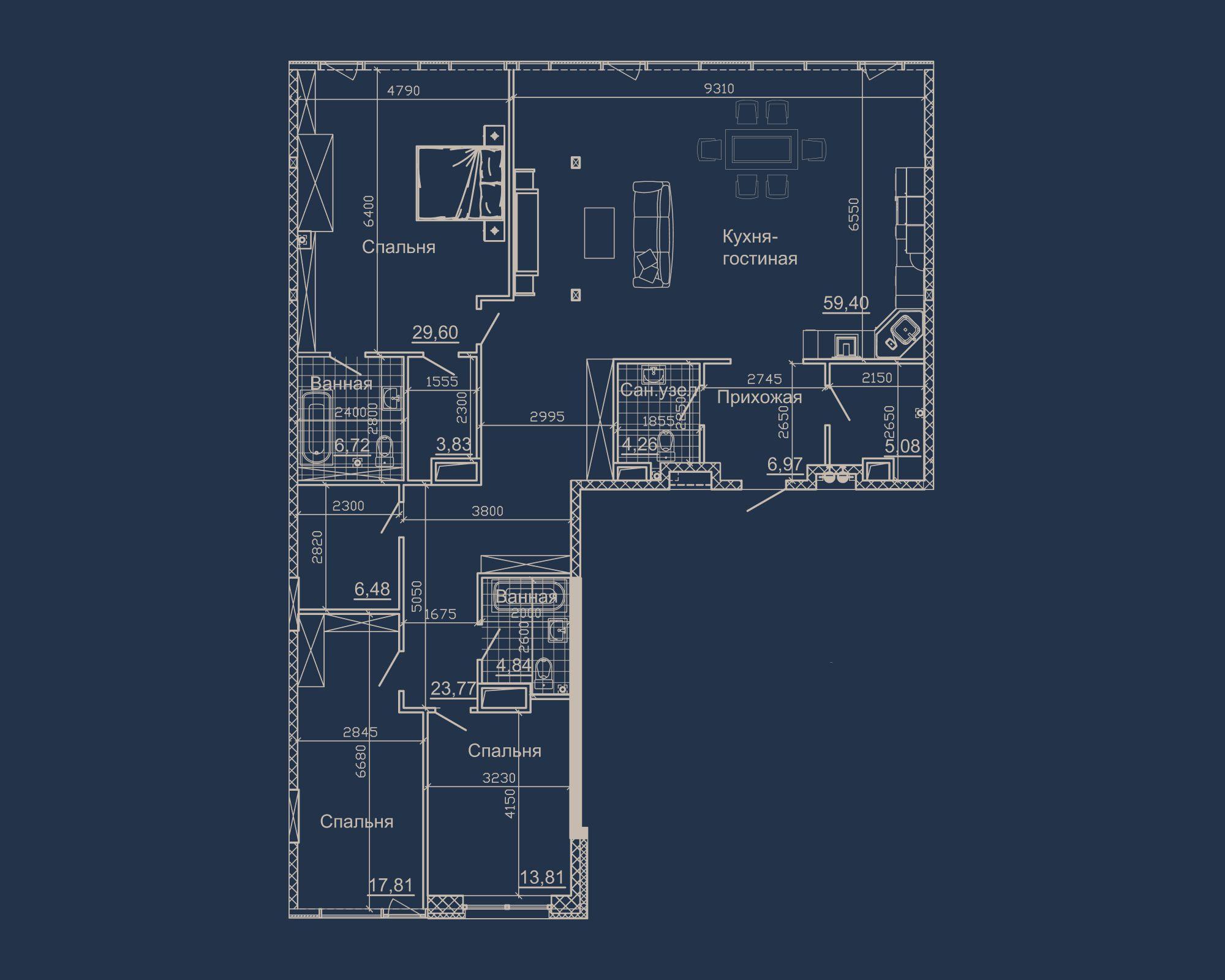 3-кімнатна квартира типу 16А-3 у ЖК Nebo