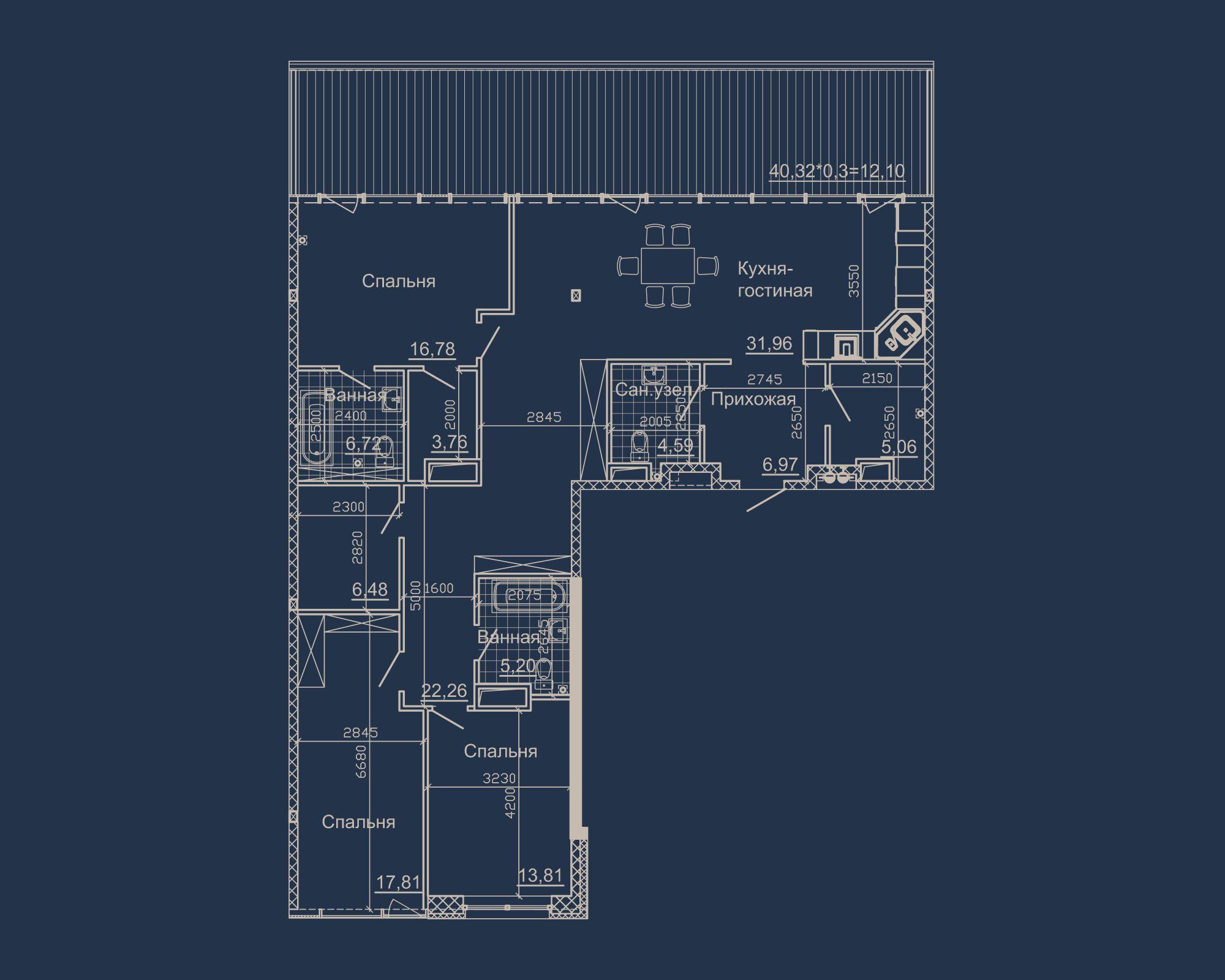3-кімнатна квартира типу 18А-2 у ЖК Nebo
