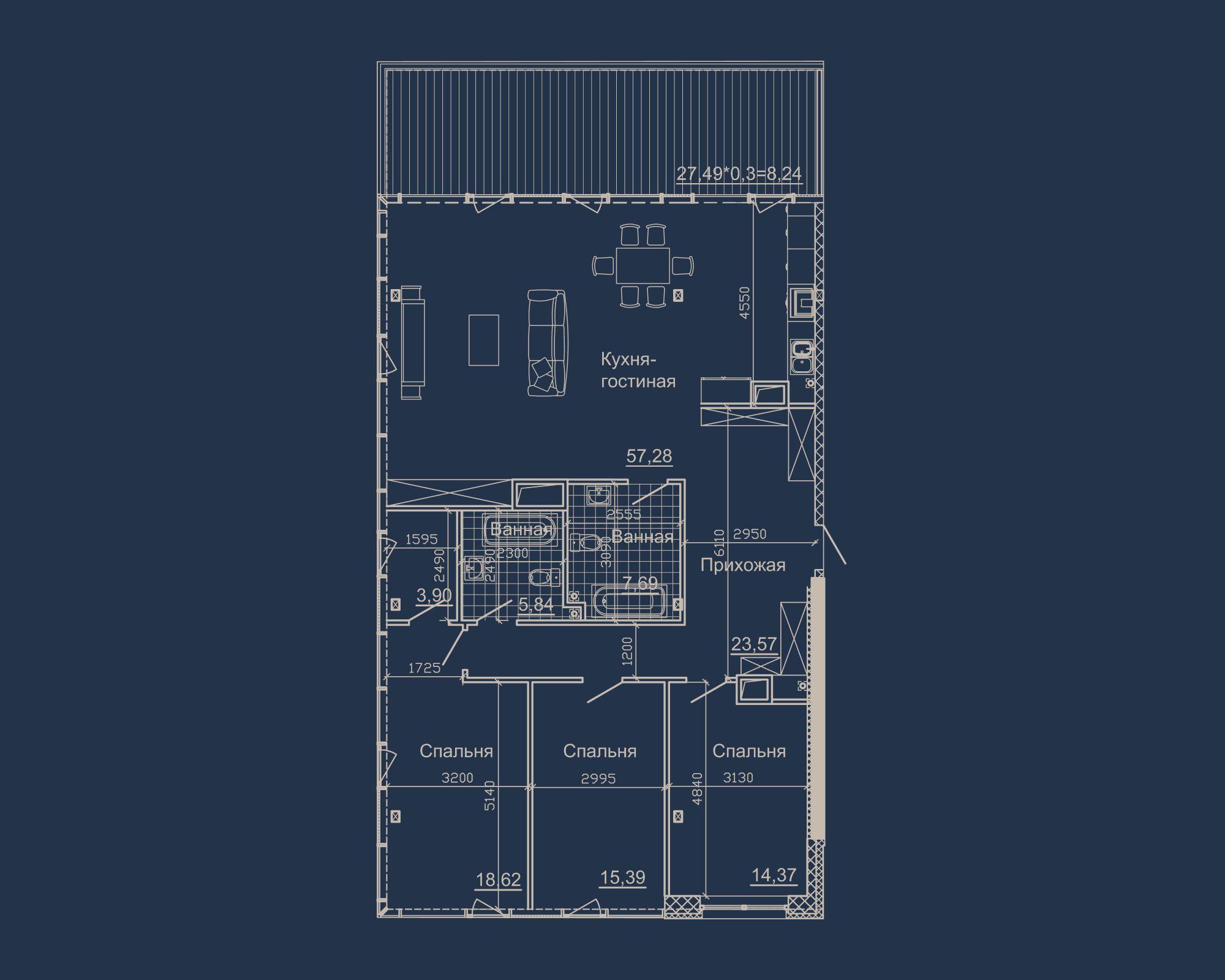 3-кімнатна квартира типу 18А у ЖК Nebo