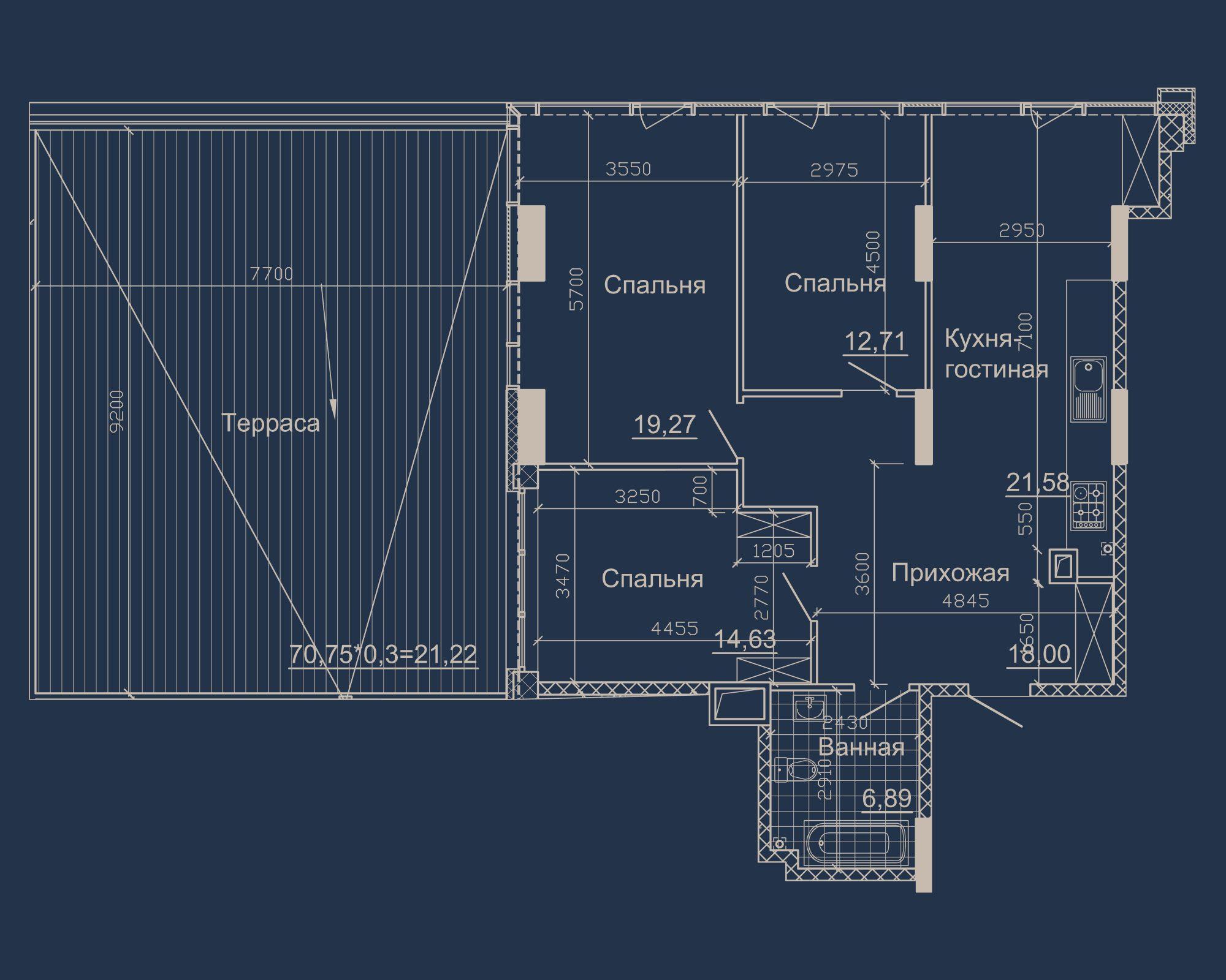 3-кімнатна квартира типу 06Б-1 у ЖК Nebo